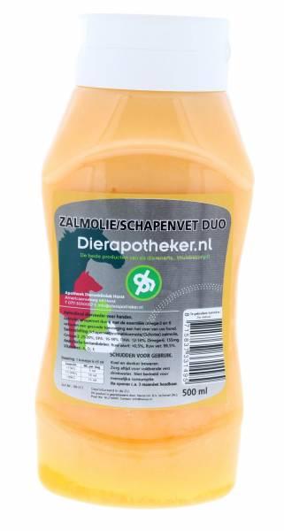 Huile de saumon / graisse de mouton Duo Dierapotheker.nl Flacon doseur 500 ml