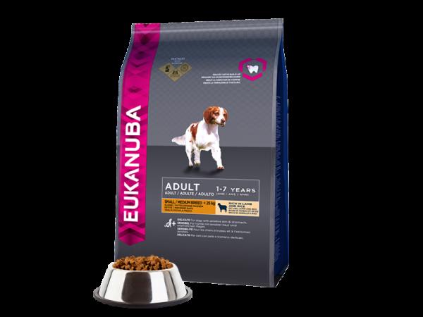 Eukanuba Dog Adult Small en Medium Breed Lamb-Rice 12 kg