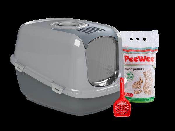 PeeWee Ecodome Bac à litière Kit démarrage Antracite-Gris