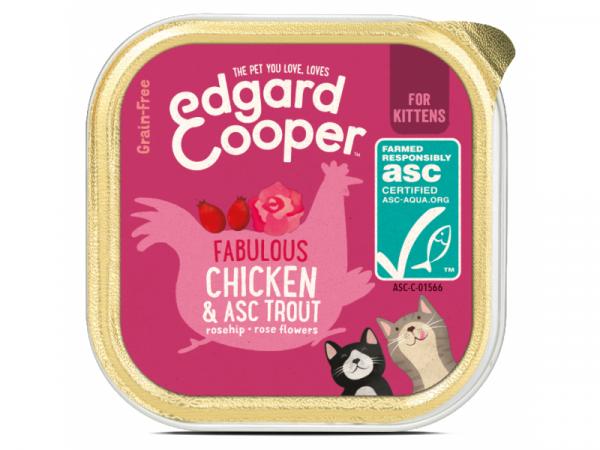 Edgard & Cooper Chaton Barquettes Poulet et ASC-Truite 19 x 85 grammes